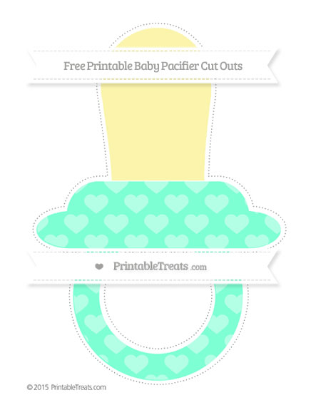 Free Aquamarine Heart Pattern Extra Large Baby Pacifier Cut Outs