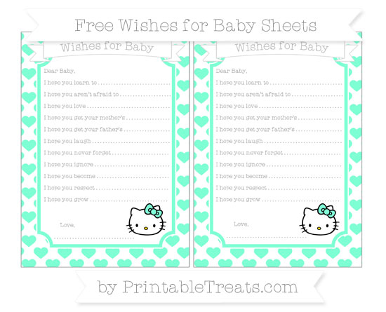 Free Aquamarine Heart Pattern Hello Kitty Wishes for Baby Sheets