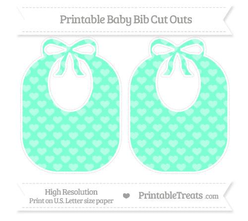 Free Aquamarine Heart Pattern Large Baby Bib Cut Outs