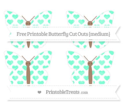 Free Aquamarine Heart Pattern Medium Butterfly Cut Outs