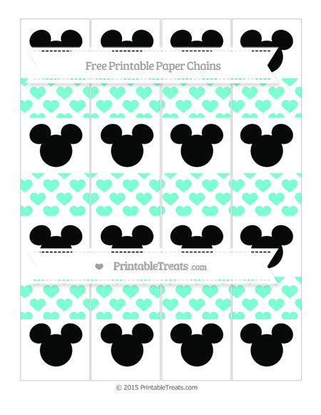 Free Aquamarine Heart Pattern Mickey Mouse Paper Chains