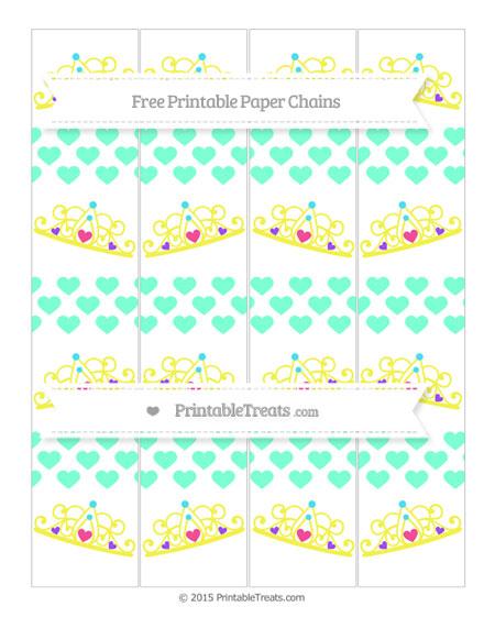 Free Aquamarine Heart Pattern Princess Tiara Paper Chains