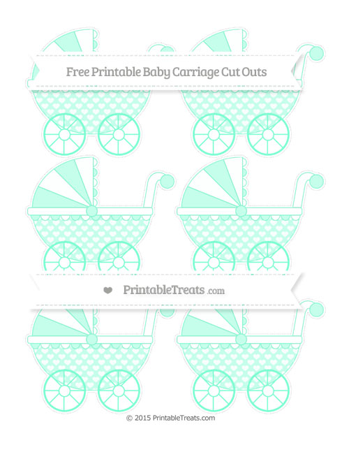Free Aquamarine Heart Pattern Small Baby Carriage Cut Outs