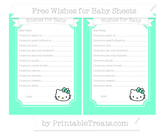Free Aquamarine Hello Kitty Wishes for Baby Sheets