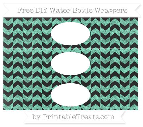 Free Aquamarine Herringbone Pattern Chalk Style DIY Water Bottle Wrappers