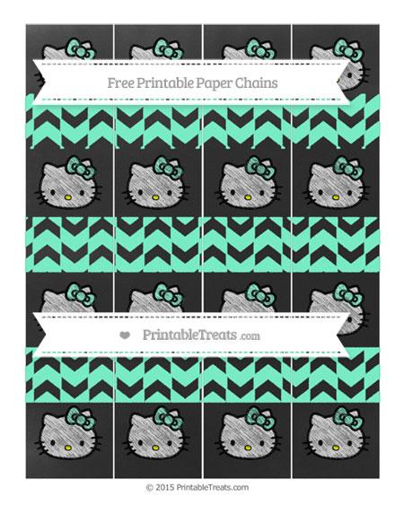 Free Aquamarine Herringbone Pattern Chalk Style Hello Kitty Paper Chains