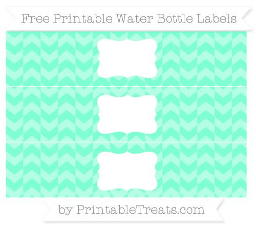 Free Aquamarine Herringbone Pattern Water Bottle Labels