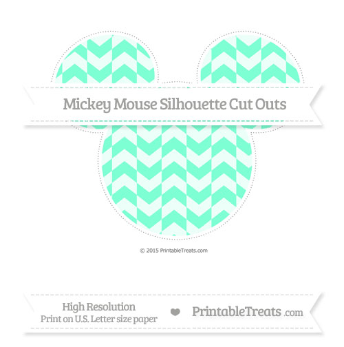 Free Aquamarine Herringbone Pattern Extra Large Mickey Mouse Silhouette Cut Outs