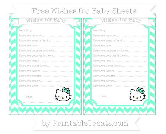 Free Aquamarine Herringbone Pattern Hello Kitty Wishes for Baby Sheets