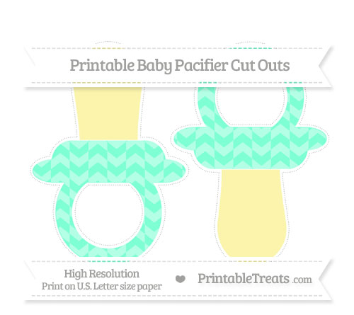 Free Aquamarine Herringbone Pattern Large Baby Pacifier Cut Outs