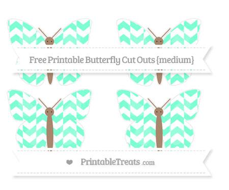 Free Aquamarine Herringbone Pattern Medium Butterfly Cut Outs