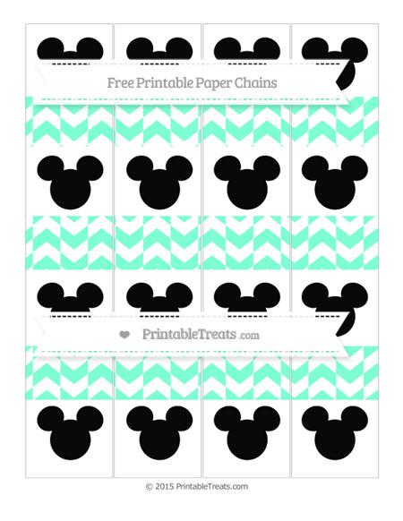 Free Aquamarine Herringbone Pattern Mickey Mouse Paper Chains