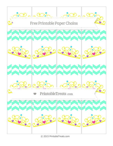 Free Aquamarine Herringbone Pattern Princess Tiara Paper Chains