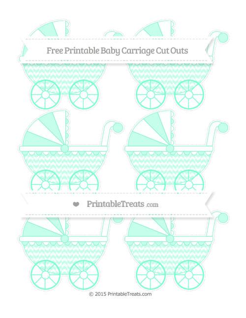 Free Aquamarine Herringbone Pattern Small Baby Carriage Cut Outs