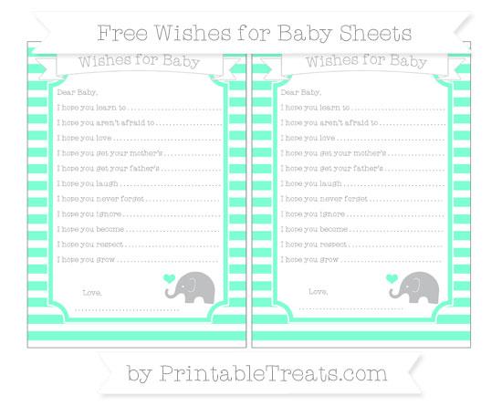 Free Aquamarine Horizontal Striped Baby Elephant Wishes for Baby Sheets