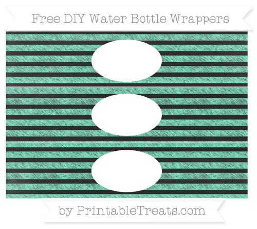 Free Aquamarine Horizontal Striped Chalk Style DIY Water Bottle Wrappers