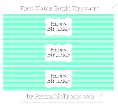 Free Aquamarine Horizontal Striped Happy Birhtday Water Bottle Wrappers