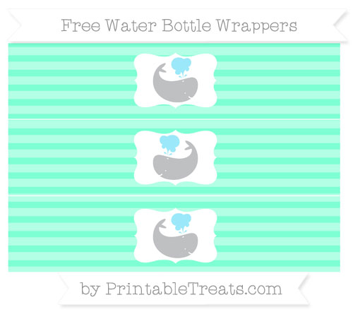 Free Aquamarine Horizontal Striped Whale Water Bottle Wrappers