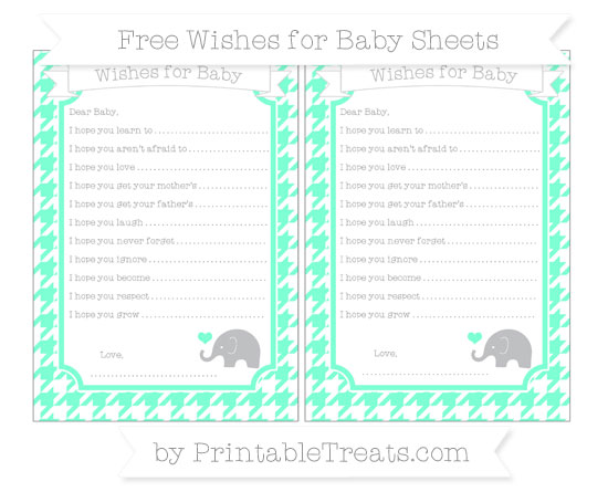 Free Aquamarine Houndstooth Pattern Baby Elephant Wishes for Baby Sheets