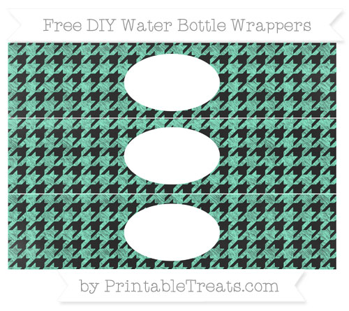Free Aquamarine Houndstooth Pattern Chalk Style DIY Water Bottle Wrappers