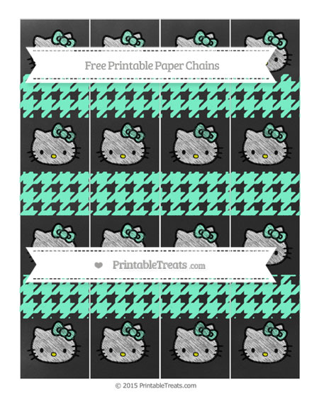 Free Aquamarine Houndstooth Pattern Chalk Style Hello Kitty Paper Chains