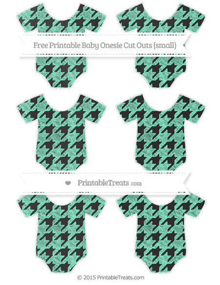 Free Aquamarine Houndstooth Pattern Chalk Style Small Baby Onesie Cut Outs