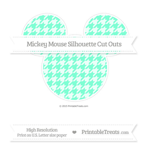 Free Aquamarine Houndstooth Pattern Extra Large Mickey Mouse Silhouette Cut Outs