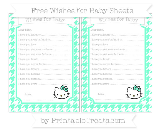 Free Aquamarine Houndstooth Pattern Hello Kitty Wishes for Baby Sheets
