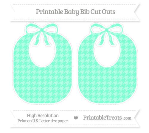 Free Aquamarine Houndstooth Pattern Large Baby Bib Cut Outs
