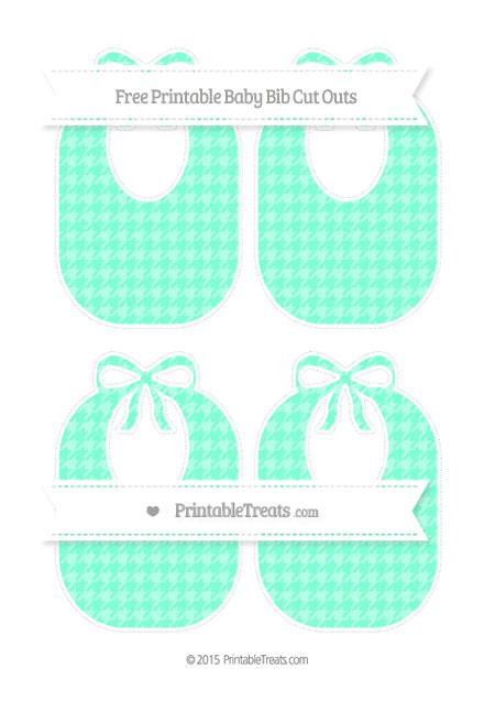 Free Aquamarine Houndstooth Pattern Medium Baby Bib Cut Outs