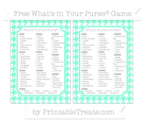 Free Aquamarine Houndstooth Pattern What's in Your Purse Baby Shower Game
