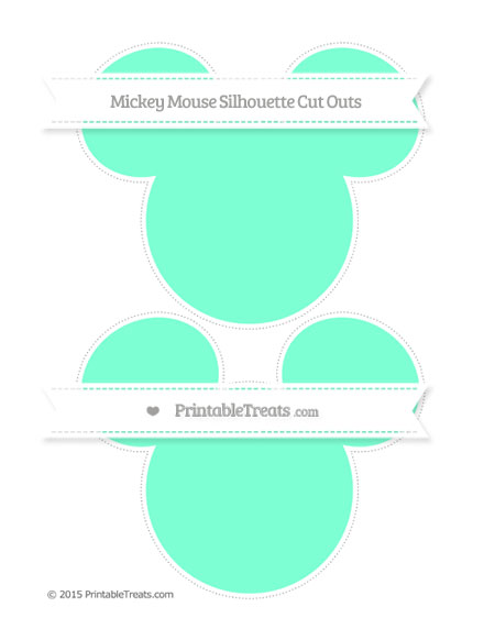 Free Aquamarine Large Mickey Mouse Silhouette Cut Outs