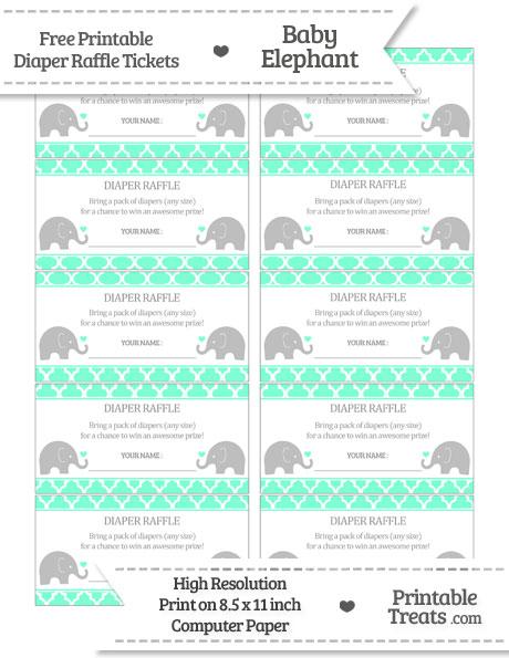Free Aquamarine Moroccan Tile Baby Elephant Diaper Raffle Tickets