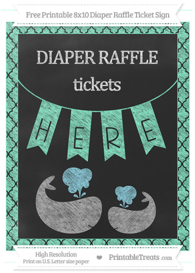 Free Aquamarine Moroccan Tile Chalk Style Baby Whale 8x10 Diaper Raffle Ticket Sign