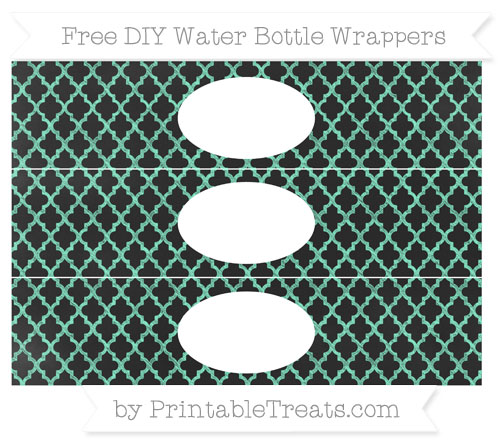 Free Aquamarine Moroccan Tile Chalk Style DIY Water Bottle Wrappers
