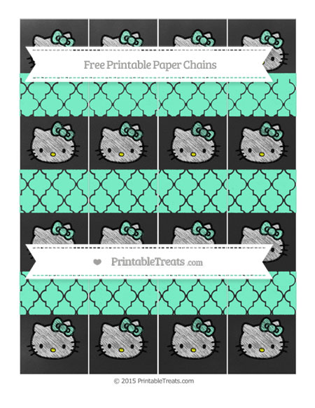 Free Aquamarine Moroccan Tile Chalk Style Hello Kitty Paper Chains