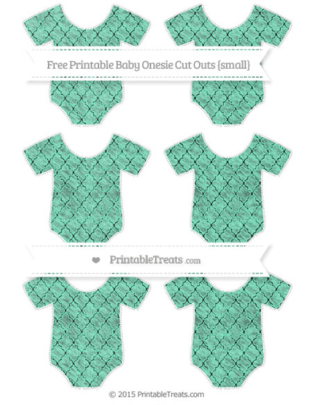 Free Aquamarine Moroccan Tile Chalk Style Small Baby Onesie Cut Outs