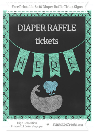 Free Aquamarine Moroccan Tile Chalk Style Whale 8x10 Diaper Raffle Ticket Sign