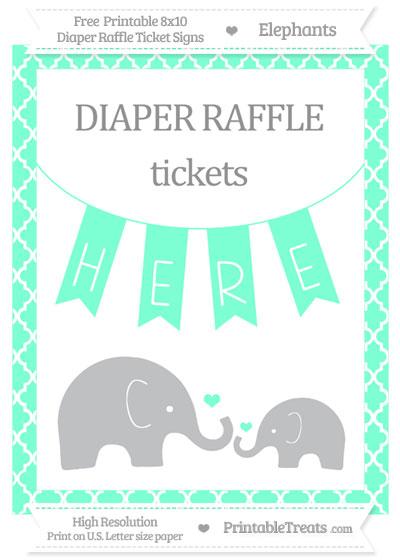Free Aquamarine Moroccan Tile Elephant 8x10 Diaper Raffle Ticket Sign