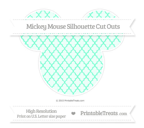 Free Aquamarine Moroccan Tile Extra Large Mickey Mouse Silhouette Cut Outs