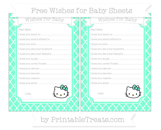 Free Aquamarine Moroccan Tile Hello Kitty Wishes for Baby Sheets