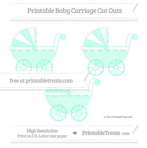Free Aquamarine Moroccan Tile Medium Baby Carriage Cut Outs