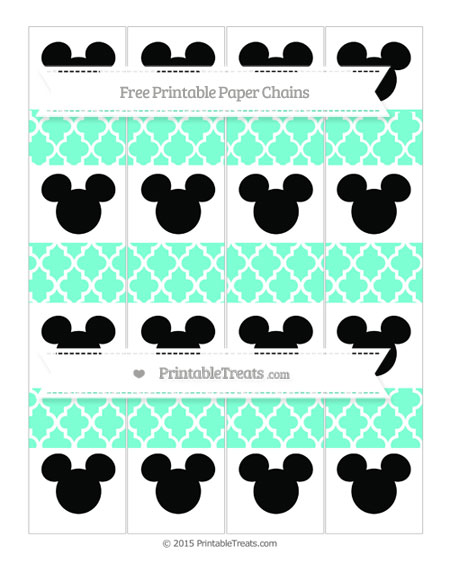 Free Aquamarine Moroccan Tile Mickey Mouse Paper Chains