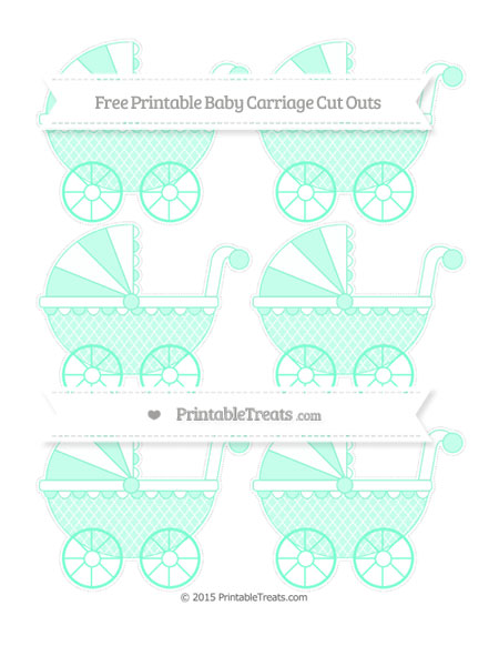 Free Aquamarine Moroccan Tile Small Baby Carriage Cut Outs