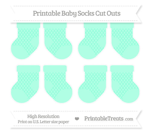 Free Aquamarine Moroccan Tile Small Baby Socks Cut Outs