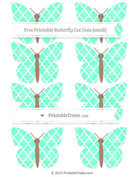 Free Aquamarine Moroccan Tile Small Butterfly Cut Outs