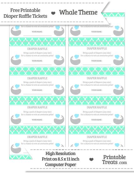 Free Aquamarine Moroccan Tile Whale Diaper Raffle Tickets