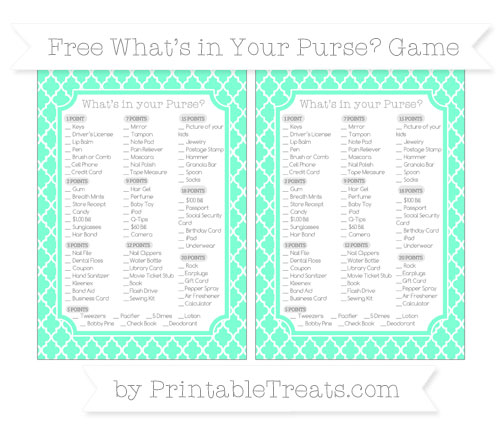 Free Aquamarine Moroccan Tile What's in Your Purse Baby Shower Game