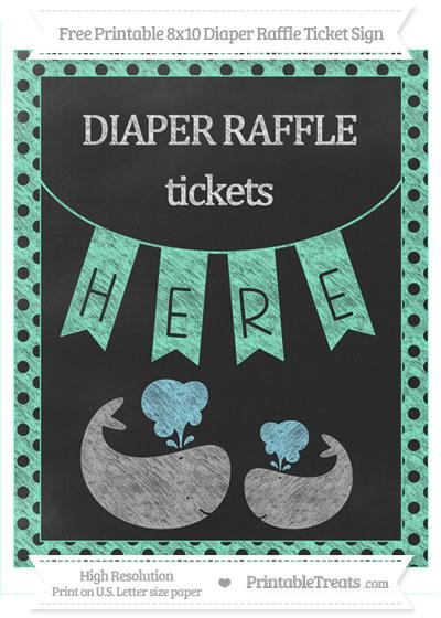 Free Aquamarine Polka Dot Chalk Style Baby Whale 8x10 Diaper Raffle Ticket Sign