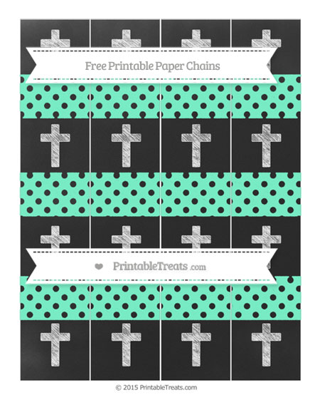 Free Aquamarine Polka Dot Chalk Style Cross Paper Chains